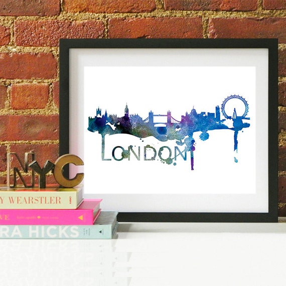 London Watercolor Skyline, London Skyline, London Art, London Poster, London Print, London Art, London Map, London Wall Art, England Art
