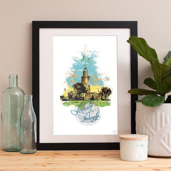 Lincoln Print, Lincoln Skyline, Lincoln Art, Lincoln Poster, Lincoln Watercolor, Lincoln Art Print, Lincoln Map, Lincoln Wall Art, Nebraska