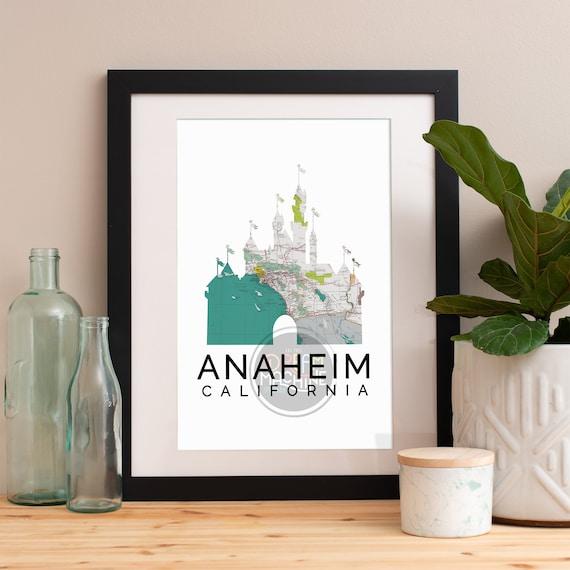 Anaheim Print, Anaheim Skyline, Anaheim Art, Anaheim Poster, Anaheim Watercolor, Anaheim Art Print, Anaheim Map, Anaheim Wall Art
