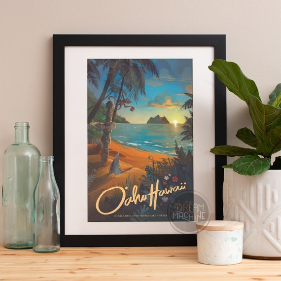 Hawaii North Shore Travel Poster, Hawaii Art, Hawaii Wall Art, Hawaii Print, Hawaii Painting, Beach Decor, Beach Art, Beach Print