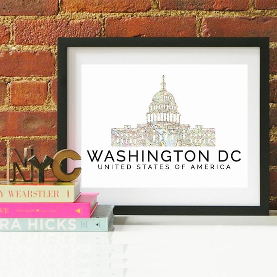 Washington DC Print, Washington DC Skyline, Washington DC Art, Washington Poster, Washington Watercolor, Washington Art Print