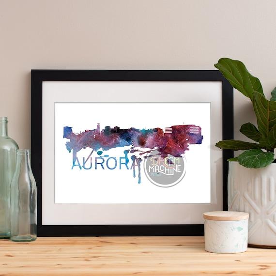 Aurora Watercolor Skyline, Aurora Skyline, Aurora Art, Aurora Poster, Aurora Print, Aurora Art, Aurora Map, Aurora Wall Art, Illinois Art