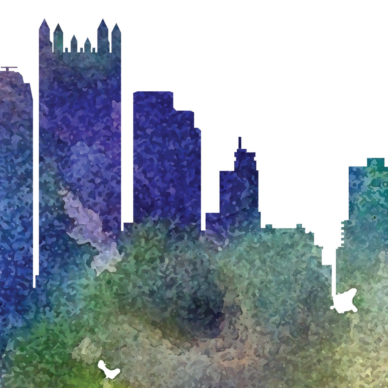 Pittsburgh Skyline: Pittsburgh Watercolor Skyline, Pittsburgh Skyline