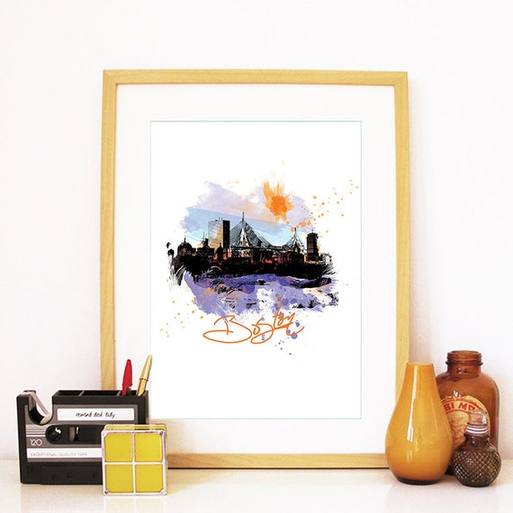 Boston Print, Boston Skyline, Boston Art, Boston Poster, Boston Watercolor, Boston Art, Boston Map, Boston Wall Art, Massachusetts Art