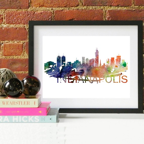 Indianapolis Watercolor Skyline, Indianapolis Skyline, Indianapolis Art, Indianapolis Poster, Indianapolis Print, Indianapolis Art, Indiana