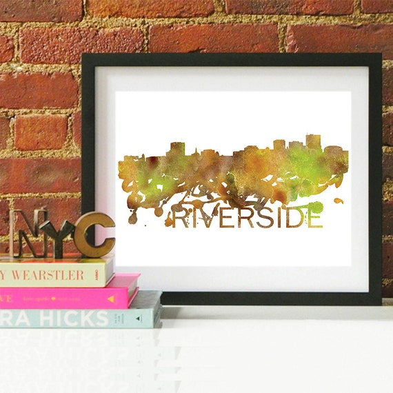Riverside Watercolor Skyline, Riverside Skyline, Riverside Art, Riverside Poster, Riverside Print, Riverside Art, Riverside Map, Riverside