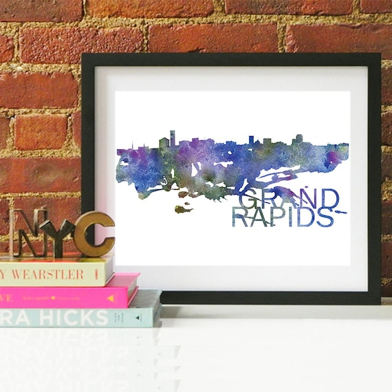 Grand Rapids Watercolor Skyline, Grand Rapids Skyline, Grand Rapids Art, Grand Rapids Poster, Grand Rapids Print, Grand Rapids Art, Michigan