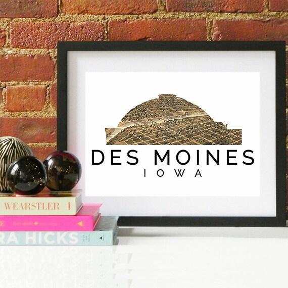 Des Moines Print, Des Moines Skyline, Des Moines Art, Des Moines Poster, Des Moines Watercolor, Des Moines Art Print, Des Moines Map, Iowa