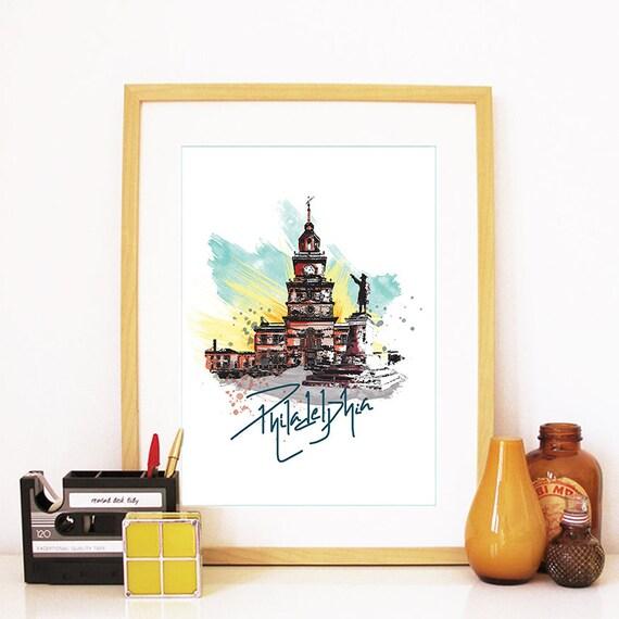 Philadelphia Print, Philadelphia Skyline, Philadelphia Art, Philadelphia Poster, Philadelphia Watercolor, Philadelphia Art Print, Philly Art