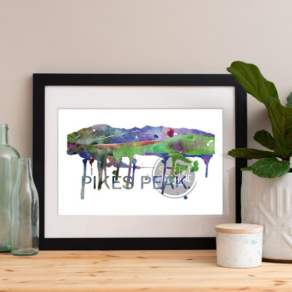 Pikes Peak Watercolor Skyline, Pikes Peak Skyline, Pikes Peak Art, Pikes Peak Poster, Pikes Peak Print, Pikes Peak Art, Pikes Peak Map