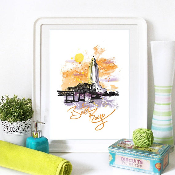 Baton Rouge Print, Baton Rouge Skyline, Baton Rouge Art, Baton Rouge Poster, Baton Rouge Watercolor, Baton Rouge Art Print, Baton Rouge Map