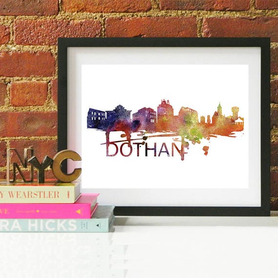 Dothan Watercolor Skyline, Dothan Skyline, Dothan Art, Dothan Poster, Dothan Print, Dothan Art, Dothan Map, Dothan Wall Art, Alabama Art