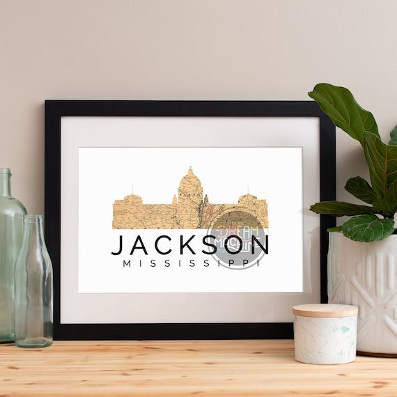 Jackson Print, Jackson Skyline, Jackson Art, Jackson Poster, Jackson Watercolor, Jackson Art Print, Jackson Map, Jackson Wall Art