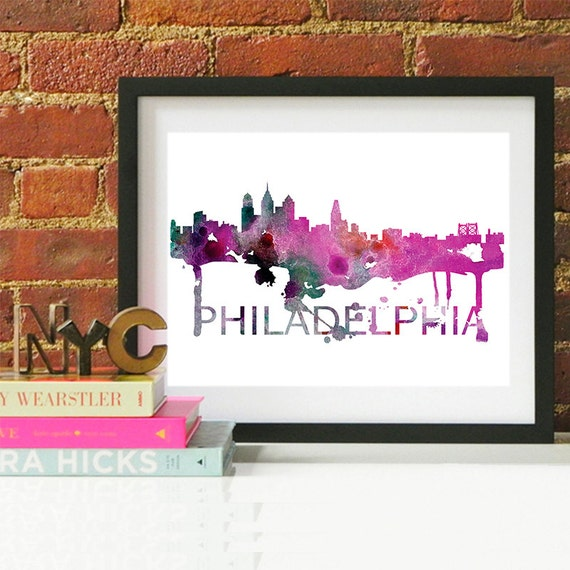 Philadelphia Watercolor Skyline, Philadelphia Skyline, Philadelphia Art, Philadelphia Poster, Philadelphia Print, Philadelphia Art