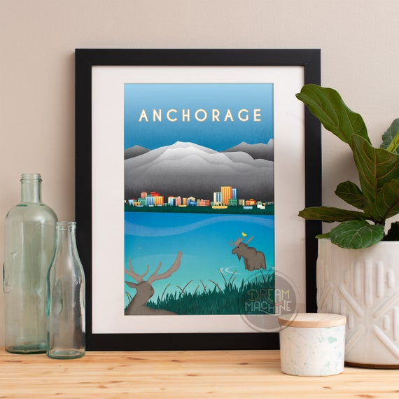 Anchorage Print, Anchorage Skyline, Anchorage Art, Anchorage Poster, Anchorage Watercolor, Anchorage Art, Anchorage Map, Anchorage Wall Art