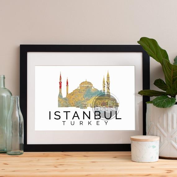 Istanbul Print, Istanbul Skyline, Istanbul Art, Istanbul Poster, Istanbul Watercolor, Istanbul Art Print, Istanbul Map, Istanbul Wall Art