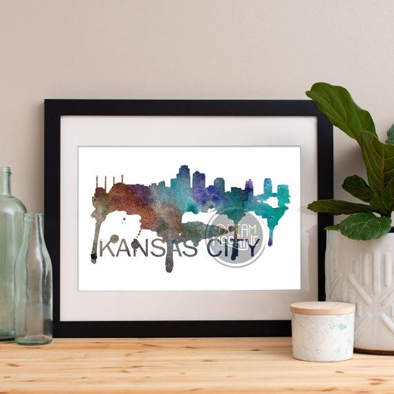 Kansas City Watercolor Skyline, Kansas City Skyline, Kansas City Art, Kansas City Poster, Kansas City Print, Kansas City Art, Kansas City