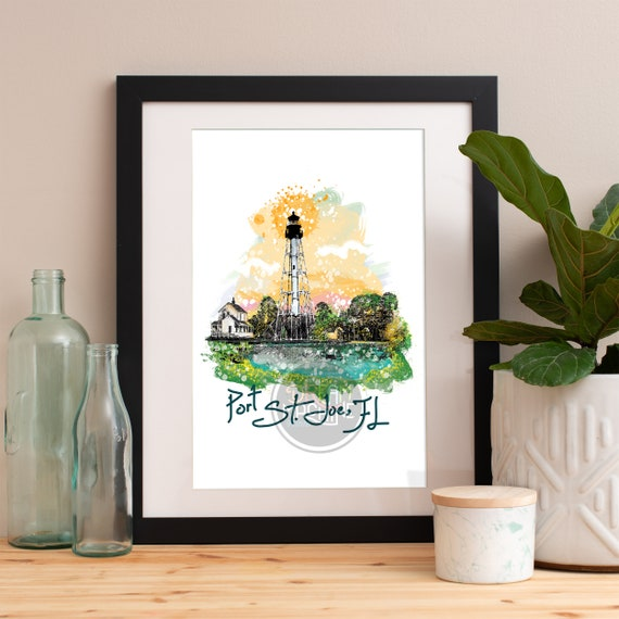 Port St. Joe Lighthouse Print, Port St. Joe Lighthouse Skyline, Port St. Joe Lighthouse Art, Port St. Joe Lighthouse Poster, Port St. Joe