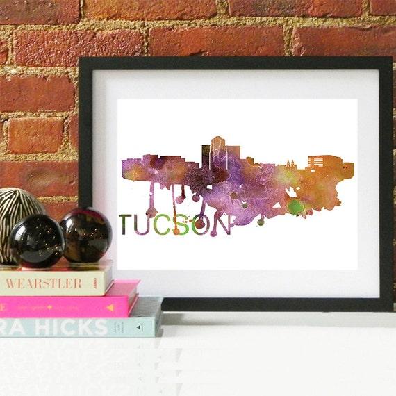 Tucson Watercolor Skyline, Tucson Skyline, Tucson Art, Tucson Poster, Tucson Print, Tucson Art, Tucson Map, Tucson Wall Art, Arizona Art