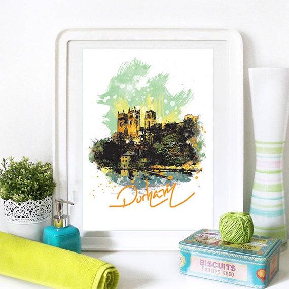 Durham Print, Durham Skyline, Durham Art, Durham Poster, Durham Watercolor, Durham Art Print, Durham Map, Durham Wall Art
