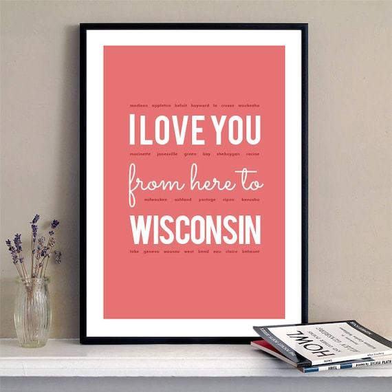 I love you from here to Wisconsin, Wisconsin Print, Wisconsin Skyline, Wisconsin Art, Wisconsin Poster, Wisconsin Watercolor, Wisconsin Art