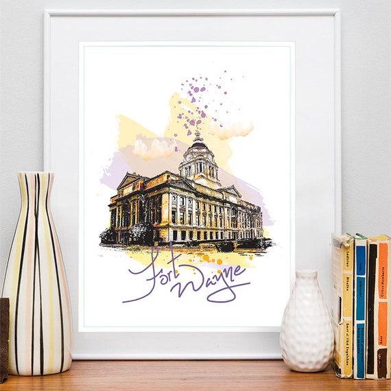 Fort Wayne Print, Fort Wayne Skyline, Fort Wayne Art, Fort Wayne Poster, Fort Wayne Watercolor, Fort Wayne Art Print, Fort Wayne Map Indiana
