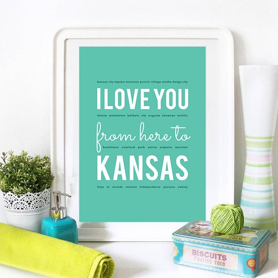 I love you from here to Kansas, Kansas Print, Kansas Skyline, Kansas Art, Kansas Poster, Kansas Watercolor, Kansas Art Print
