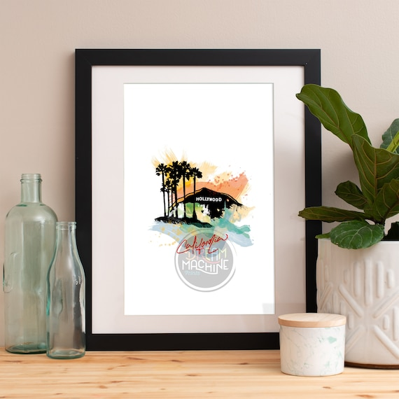 Hollywood Print, Hollywood Skyline, Hollywood Art, Hollywood Poster, Hollywood Watercolor, Hollywood Art, Hollywood Map, Hollywood Wall Art
