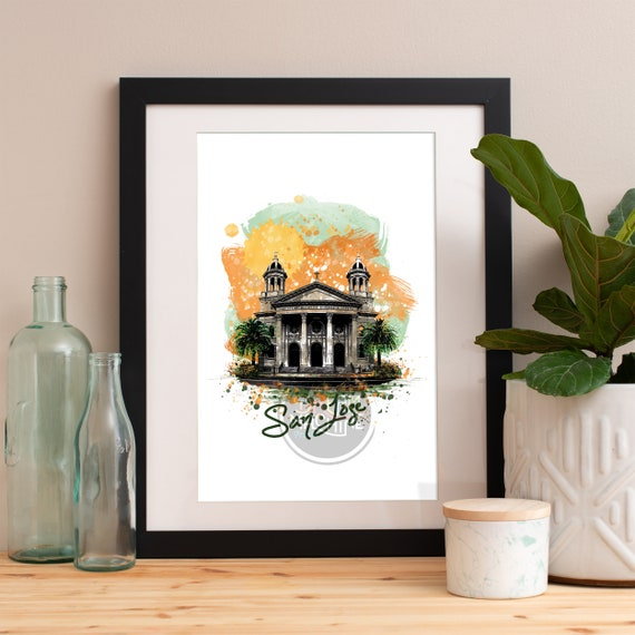 San Jose Print, San Jose Skyline, San Jose Art, San Jose Poster, San Jose Watercolor, San Jose Art Print, San Jose Map, San Jose Wall Art