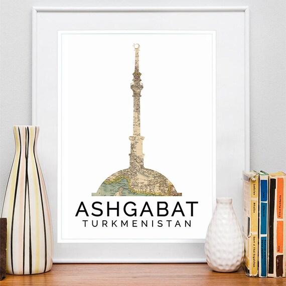 Ashgabat Print, Ashgabat Skyline, Ashgabat Art, Ashgabat Poster, Ashgabat Watercolor, Ashgabat Art Print, Ashgabat Map, Ashgabat Wall Art
