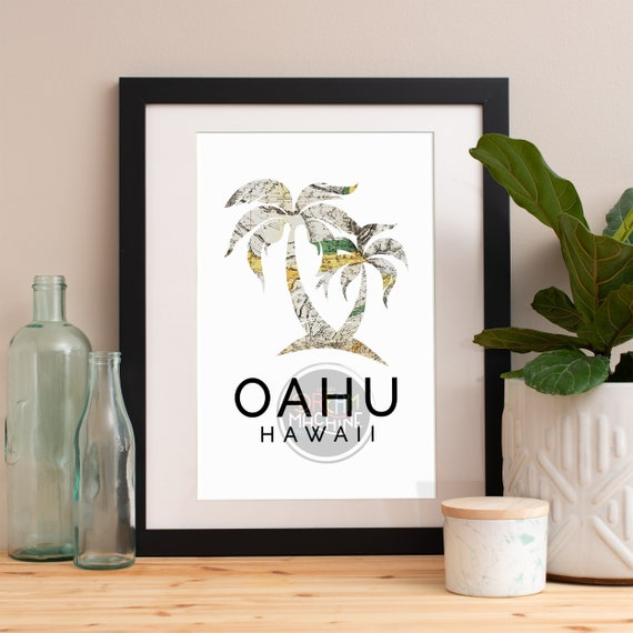 Oahu Print, Oahu Skyline, Oahu Art, Oahu Poster, Oahu Watercolor, Oahu Art Print, Oahu Map, Oahu Wall Art, Hawaii Art