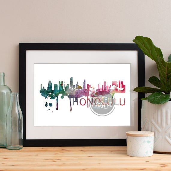 Honolulu Watercolor Skyline, Honolulu Skyline, Honolulu Art, Honolulu Poster, Honolulu Print, Honolulu Art, Honolulu Map, Honolulu