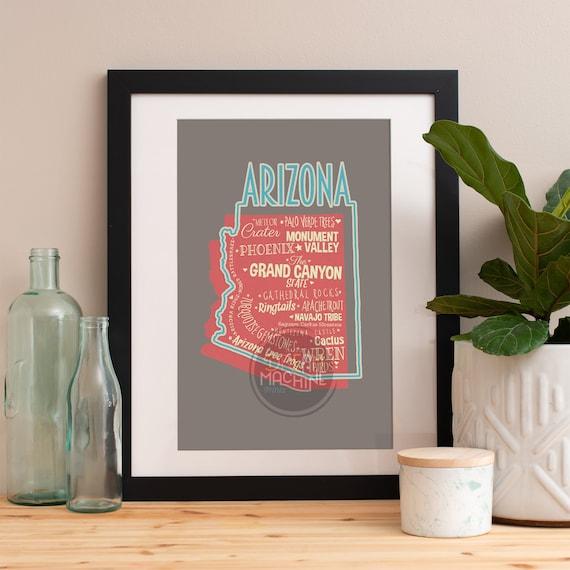 Arizona State Print Arizona Art Arizona Poster Arizona Print