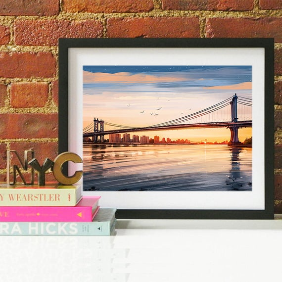 New York City Manhattan Bridge, New York City Skyline, New York City Art, New York City Poster, New York City Print, New York City Art