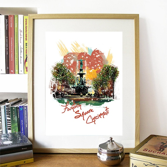 Cincinnati Print, Cincinnati Skyline, Cincinnati Art, Cincinnati Poster, Cincinnati Watercolor, Cincinnati Art Print, Cincinnati Map