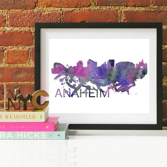 Anaheim Watercolor Skyline, Anaheim Skyline, Anaheim Art, Anaheim Poster, Anaheim Print, Anaheim Art, Anaheim Map, Anaheim Wall Art, Anaheim