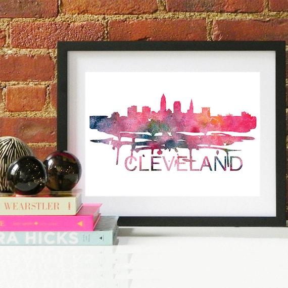 Cleveland Watercolor Skyline, Cleveland Skyline, Cleveland Art, Cleveland Poster, Cleveland Print, Cleveland Art, Cleveland Map, Cleveland