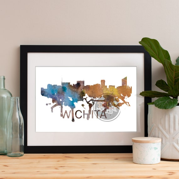 Wichita Watercolor Skyline, Wichita Skyline, Wichita Art, Wichita Poster, Wichita Print, Wichita Art, Wichita Map, Wichita Wall Art, Kansas