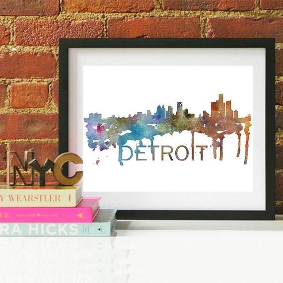 Detroit Watercolor Skyline, Detroit Skyline, Detroit Art, Detroit Poster, Detroit Print, Detroit Art, Detroit Map, Detroit Wall Art, Detroit