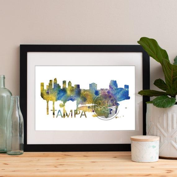 Tampa Watercolor Skyline, Tampa Skyline, Tampa Art, Tampa Poster, Tampa Print, Tampa Art, Tampa Map, Tampa Wall Art, Florida Art, Tampa