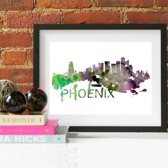 Phoenix Watercolor Skyline, Phoenix Skyline, Phoenix Art, Phoenix Poster, Phoenix Print, Phoenix Art, Phoenix Map, Phoenix Wall Art, Arizona