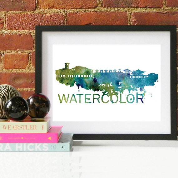 Watercolor Skyline, Watercolor Skyline, Watercolor Art, Watercolor Poster, Watercolor Print, Watercolor Art, Watercolor Map, Watercolor Wall