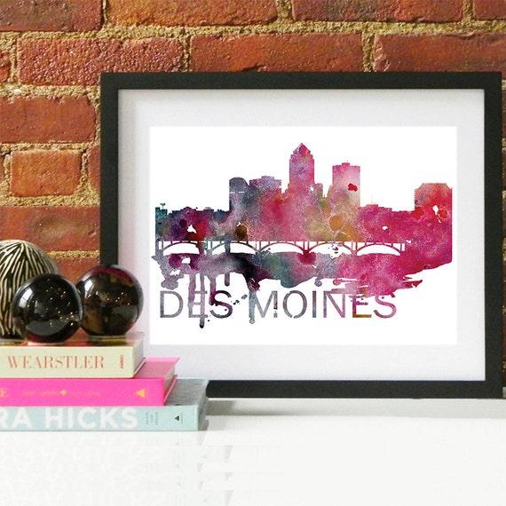 Des Moines Watercolor Skyline, Des Moines Skyline, Des Moines Art, Des Moines Poster, Des Moines Print, Des Moines Art, Des Moines Map, Iowa