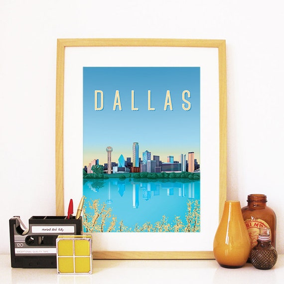 Dallas Print, Dallas Skyline, Dallas Art, Dallas Poster, Dallas Watercolor, Dallas Art, Dallas Map, Dallas Wall Art, Texas Art