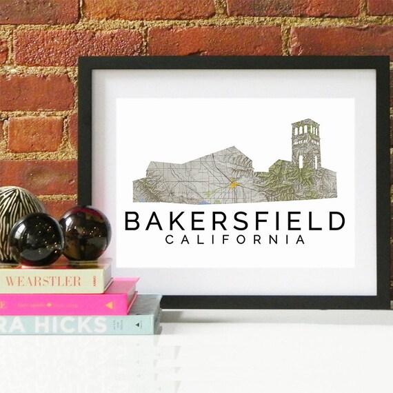 Bakersfield Print, Bakersfield Skyline, Bakersfield Art, Bakersfield Poster, Bakersfield Watercolor, Bakersfield Art Print, Bakersfield Map