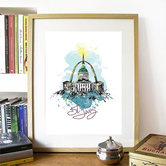 Saint Louis Print, Saint Louis Skyline, Saint Louis Art, Saint Louis Poster, Saint Louis Watercolor, Saint Louis Art Print, Saint Louis Map