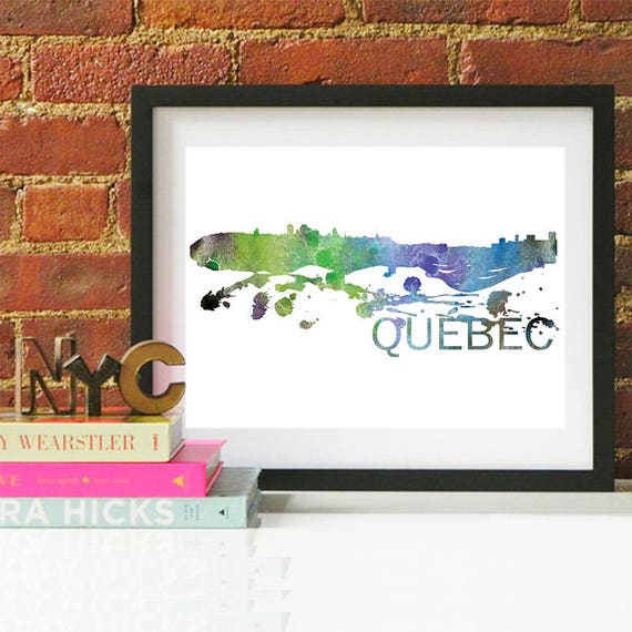 Quebec Watercolor Skyline, Quebec Skyline, Quebec Art, Quebec Poster, Quebec Print, Quebec Art, Quebec Map, Quebec Wall Art, Canada Art