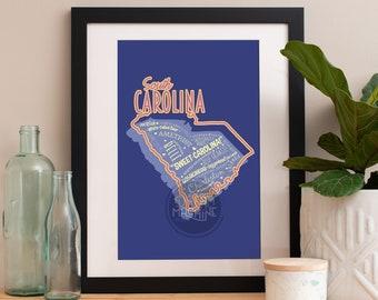 South Carolina State Print South Carolina Art South Carolina Poster  South Carolina Print