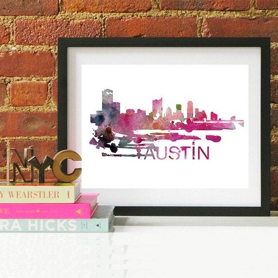 Austin Watercolor Skyline, Austin Skyline, Austin Art, Austin Poster, Austin Print, Austin Art, Austin Map, Austin Wall Art, Texas Art