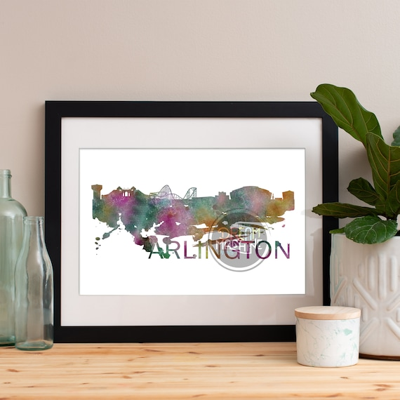 Arlington Watercolor Skyline, Arlington Skyline, Arlington Art, Arlington Poster, Arlington Print, Arlington Art, Arlington Map, Arlington